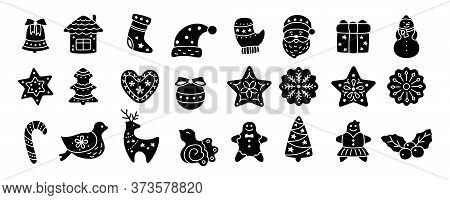 Christmas Icon, Black Glyph. Flat Cartoon Set. Silhouette Sign New Year, Icons Collection Bird, Holl