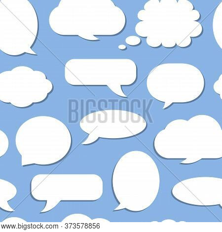 Speech Soap Bubble Seamless Pattern. Limitless On Blue Background With White Flat Cartoon Talk, Mess