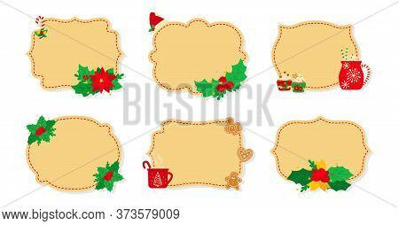 Christmas Label And Tag Beige Flat Set. New Year Tags Decorated Objects, Holly Mistletoe, Candy Cook