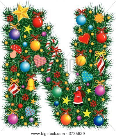Alphabet Letter N - Christmas Decoration