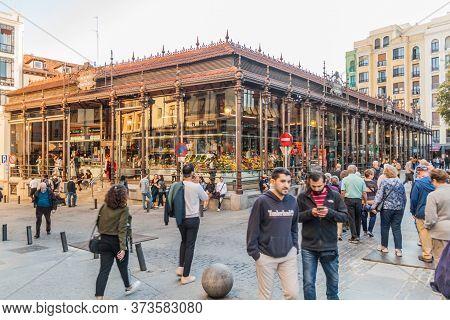Madrid, Spain - October 21, 2017: View Of Mercado De San Miguel Market In Madrid.