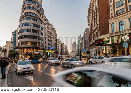 Madrid, Spain - October 21, 2017: Calle Gran Via Street And Carrion Building In Madrid.