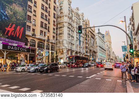 Madrid, Spain - October 21, 2017: Traffic At Calle Gran Via Street In Madrid.