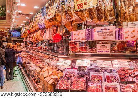 Madrid, Spain - October 21, 2017: Jamon Ham Shop In Madrid.