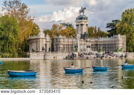 Madrid, Spain - October 22, 2017: Alfonso Xii Monument In Retiro Park In Madrid.