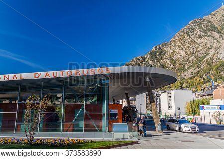 Andorra La Vella, Andorra - October 26, 2017: View Of The Bus Terminal In Andorra La Vella.