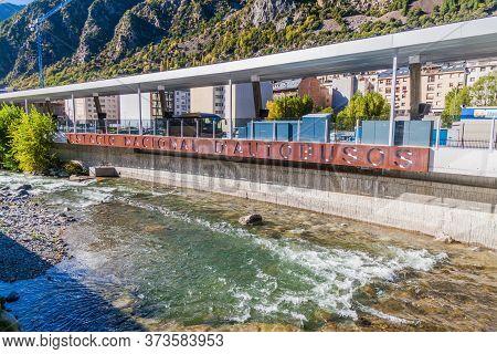 Andorra La Vella, Andorra - October 28, 2017: La Valira River And The Bus Terminal In Andorra La Vel