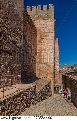 Granada, Spain - November 2, 2017: Fortification Walls Of Alcazaba At Alhambra In Granada, Spain