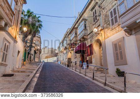 Victoria, Malta - November 8, 2017: Road To The Citadel In Victoria, Gozo Island, Malta