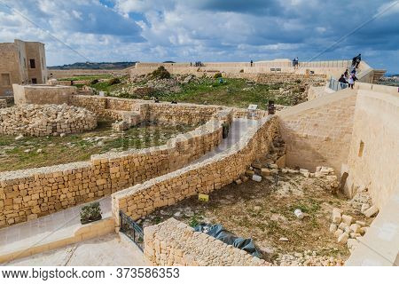 Victoria, Malta - November 9, 2017: Ruins Of The Cittadella, Citadel Of Victoria, Gozo Island, Malta