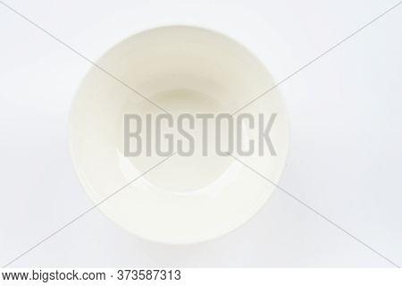 White Ceramic Round Bowl Isolated On White