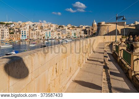 Fortification Of Birgu, Kalkara Town In The Background, Malta