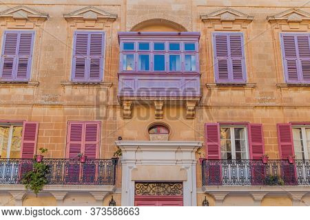 Typical Maltese Balconies In The Fortified City Mdina In The Northern Region Of Malta