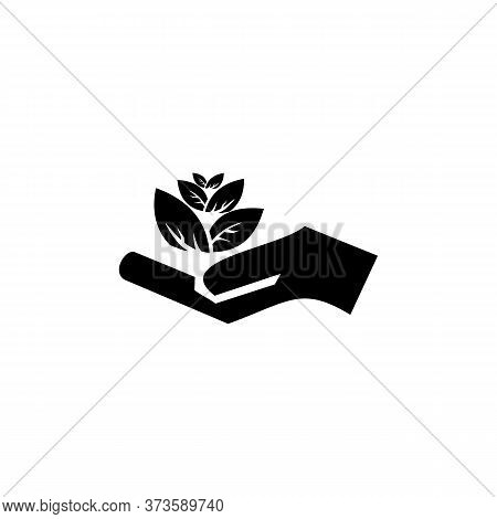 Pictograph Of Flower In Hand. Vector Icon 10 Eps