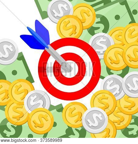 Arrow And Money For Goal And Success Concept, Arrow Of Success And Money For Goal Achievement Strate
