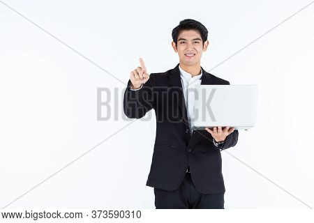 Successful Happy Of Asian Young Businessman A Successful Business Hold Laptop Computer With Pointing