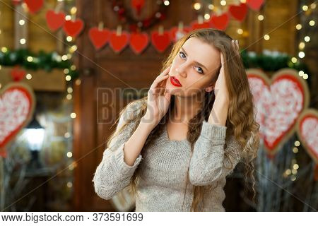 Attractive Woman In Love In Grey Warm Sweater Celebrate Valentines Day And Waiting For Man