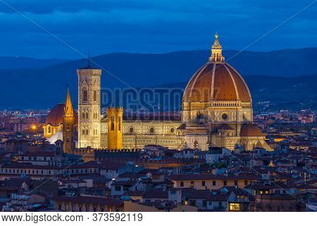 Old Cathedral Of Santa Maria Del Fiore Close Up On A September Evening. Florence, Italy