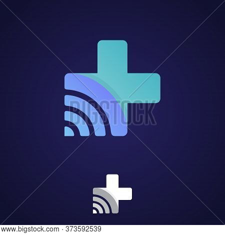 Cross Health Technology Symbol With Network Signal Symbol. Healthcare And Hospital Technology Symbol