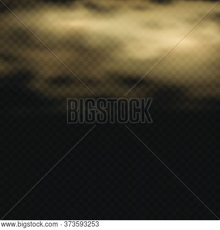 Fog Or Smoke Isolated Transparent Special Effect. Dark Vector Cloudiness, Mist Or Smog Background. M