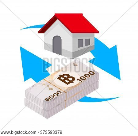 Pile Money Banknote Thai 1000 Baht And House With Blue Arrow, Residential Home On Bank Note Money Th