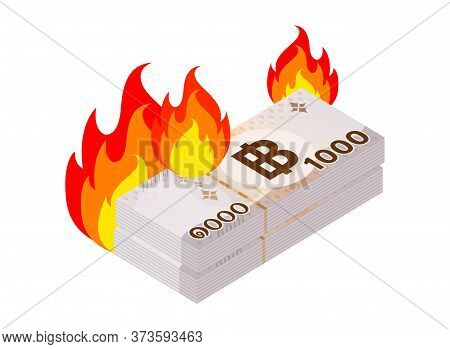 Thai 1000 Baht Banknote Money And Flame Symbol, Thai Currency Thb, Loan Money Concept