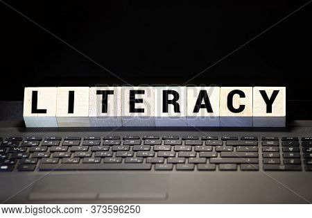 Literacy Word Made With Building Blocks, Concept