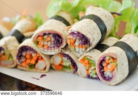 Bread Roll, Rolls Or Vegetable Rolls For Serve