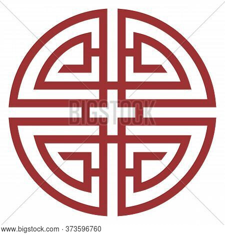 Oriental Isolated Pattern Object Round Spiral Cross Tracery Frame Chain Line