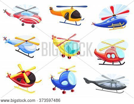 Helicopter Icons Set. Cartoon Set Of Helicopter Vector Icons For Web Design