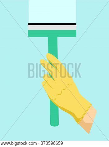 Vector Cartoon Squeegee, Scraper, Wiper For Cleaning Windows, Floor, Bathroom Shiny Flat, Icon Templ