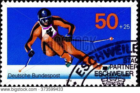 02 08 2020 Divnoe Stavropol Territory Russia The Postage Stamp Germany 1978 Sport Alpine Skiing Down