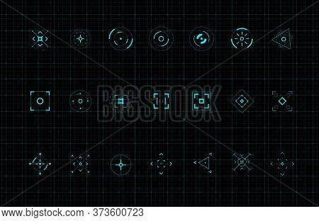 Hud Callout Target Design Elements. Set Of Callout Futuristic Pointer. Design Elements For Fui, Cont