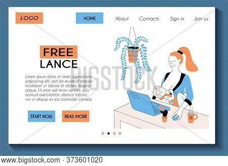 Web Landing Page Template For Work From Home Freelance Site.  Freelancer Mom Is Working With Laptop