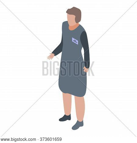 Woman Shop Assistant Icon. Isometric Of Woman Shop Assistant Vector Icon For Web Design Isolated On