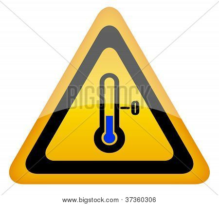 Low temperature warning sign isolated on white background poster