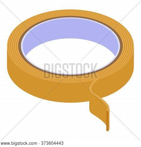 Construction Scotch Tape Icon. Isometric Of Construction Scotch Tape Vector Icon For Web Design Isol