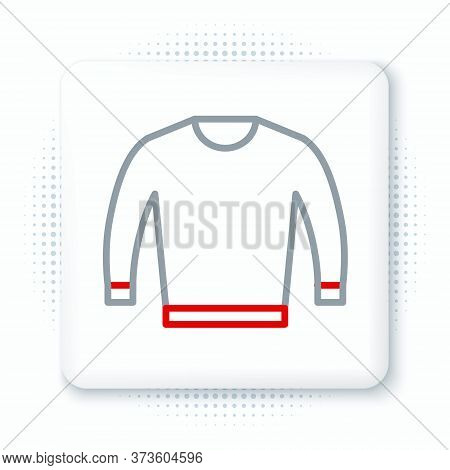 Line Sweater Icon Isolated On White Background. Pullover Icon. Colorful Outline Concept. Vector