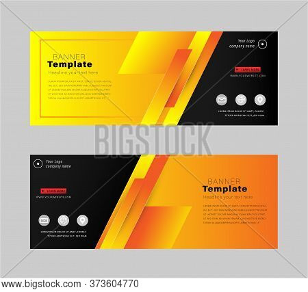 Vector Eps10 Illustration Abstract Design Banner Business Web Template, Horizontal  Layout Flat Desi
