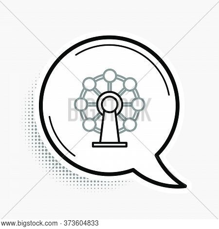 Line Ferris Wheel Icon Isolated On Grey Background. Amusement Park. Childrens Entertainment Playgrou