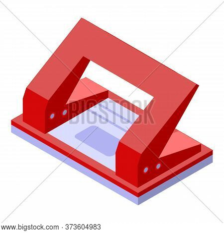 Red Hole Puncher Icon. Isometric Of Red Hole Puncher Vector Icon For Web Design Isolated On White Ba