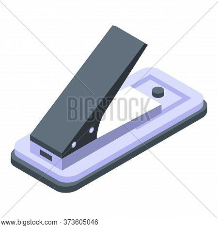 Plastic Hole Puncher Icon. Isometric Of Plastic Hole Puncher Vector Icon For Web Design Isolated On