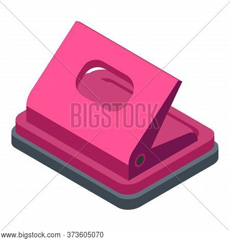 Hole Puncher Equipment Icon. Isometric Of Hole Puncher Equipment Vector Icon For Web Design Isolated