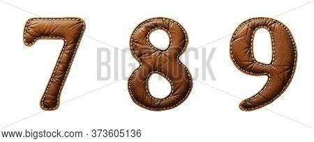 Set of numbers 7, 8, 9 made of leather. 3D render font with skin texture isolated on white background. 3d rendering