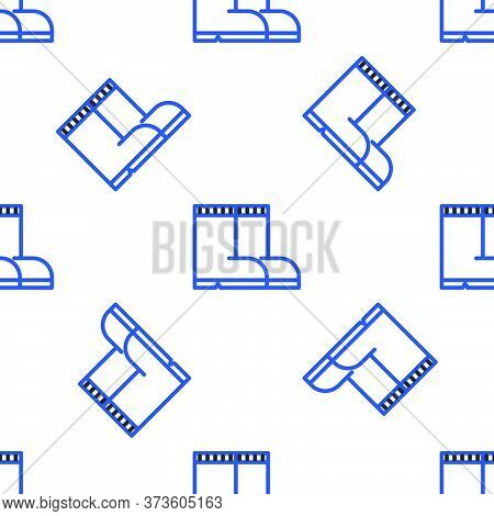Line Fishing Boots Icon Isolated Seamless Pattern On White Background. Waterproof Rubber Boot. Gumbo