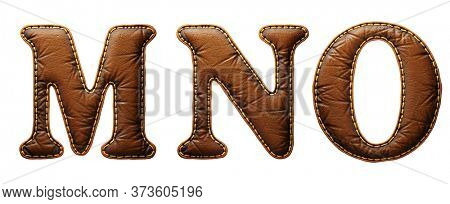Set of leather letters M, N, O uppercase. 3D render font with skin texture isolated on white background. 3d rendering