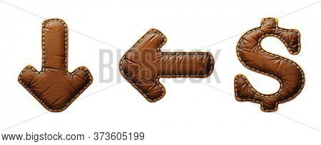 Set of symbols arrow to down, left arrow, dollar made of leather. 3D render font with skin texture isolated on white background. 3d rendering