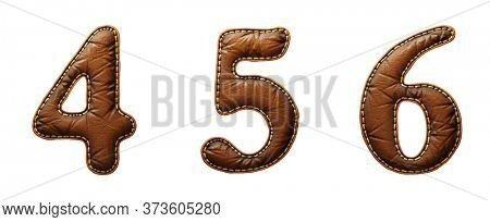 Set of numbers 4, 5, 6 made of leather. 3D render font with skin texture isolated on white background. 3d rendering