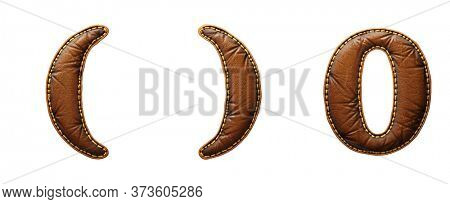 Set of symbols left and right parentheses, number 0 made of leather. 3D render font with skin texture isolated on white background. 3d rendering