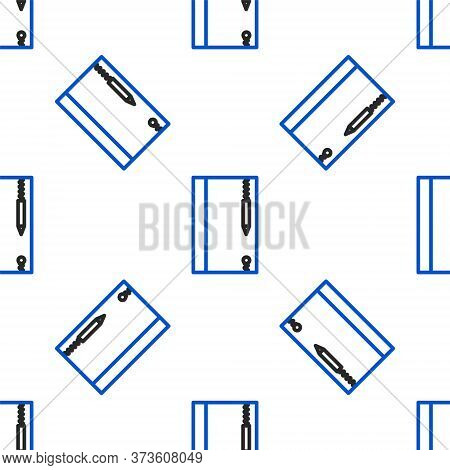 Line Underwater Note Book And Pencil For Snorkeling Icon Isolated Seamless Pattern On White Backgrou